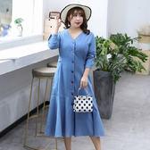 中大尺碼~氣質收腰長袖連衣裙(XL~4XL)