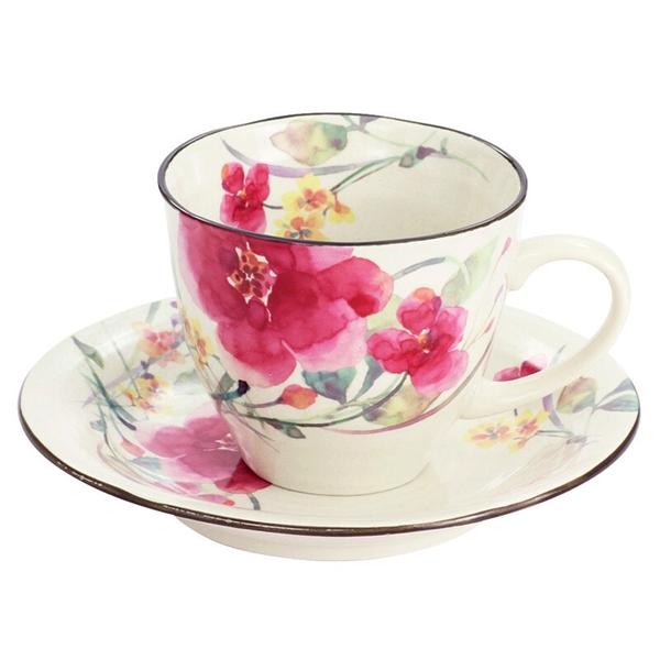 【日本製】 花水彩系列 美濃燒咖啡杯盤組 秋明菊圖案(一組:36個) SD-6670-36 - 日本製
