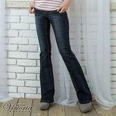 Victoria 鏡片貼花中腰靴型褲-女-中藍