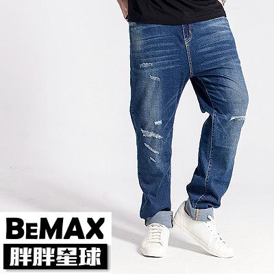 【胖胖星球】中大尺碼‧洗色抓破造型牛仔褲 38~50腰‧加大【108355】