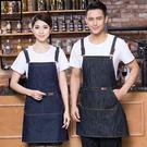 牛仔圍裙無袖韓版時尚咖啡店西餐廳定制LOGO工作服男女酒吧美發師 全館限時八八折