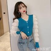 針織上衣2020年早秋裝新款韓版性感蕾絲拼接修身顯瘦百搭針織開衫上衣女潮 小天使