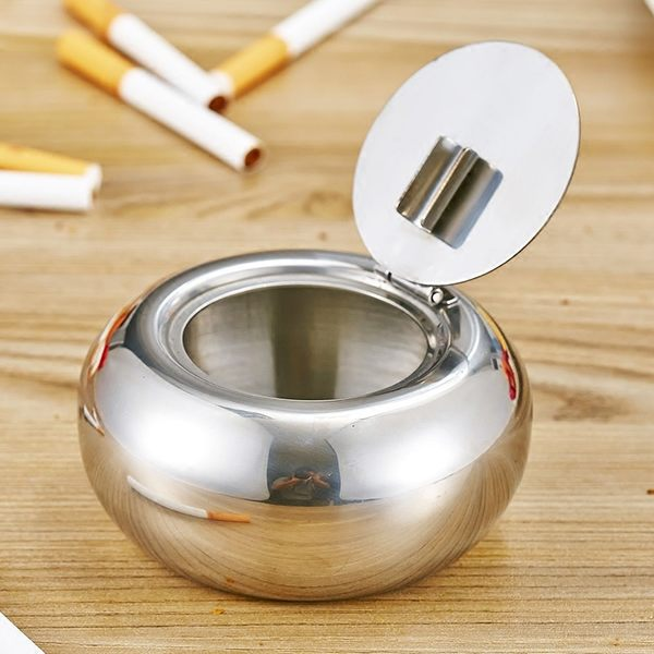 加厚鼓形不銹鋼煙灰缸防風帶蓋歐式煙缸歐式個性金屬煙盅創意禮品【慶新年全館免運】