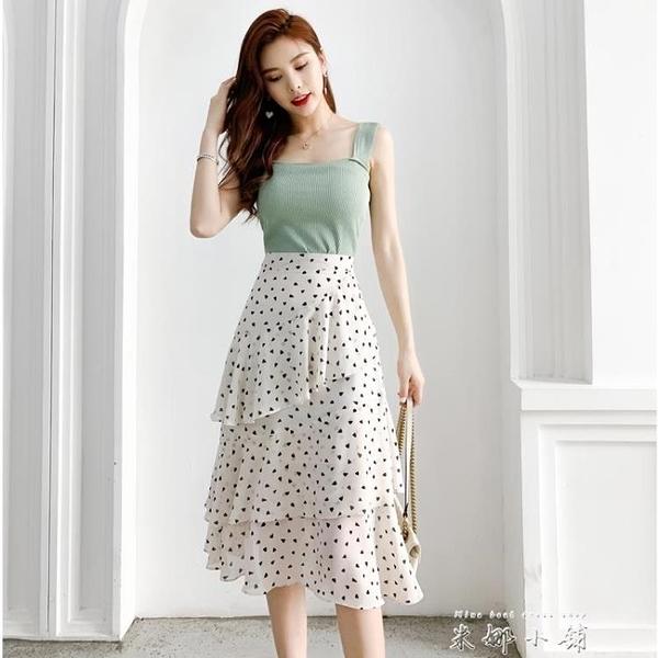 波點蛋糕裙小碎花雪紡半身裙女夏季高腰不規則a字白色中長款裙子 米娜小鋪