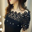 蕾絲雪紡衫 短袖露肩T恤上衣 韓版一字領釘珠顯瘦性感