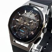 [萬年鐘錶]  BULOVA寶路華 曲面設計 三眼 計時碼錶 灰錶面 銀殼 黑橡膠帶 男錶 98A161