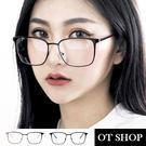 OT SHOP眼鏡框‧歐美韓系中性簡約方形金屬鏡框復古時尚文青配件平光眼鏡‧現貨兩色‧NU70