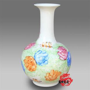 景德鎮陶瓷花瓶鳥語花香賞瓶帶證書