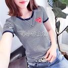 95%棉條紋t恤女新款學生韓版修身大碼顯瘦短袖女半袖上衣女夏 快速出貨