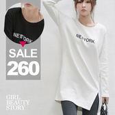 SISI【L8014】輕鬆百搭圓領字母印花修身顯瘦寬鬆長版開叉T恤休閒連身裙長T
