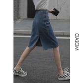 窄裙 側拉鏈牛仔半身裙女夏a字款2020新款高腰顯瘦后開叉百搭包臀裙潮