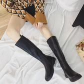 秋冬靴子皮靴長靴女中筒靴女平底高筒靴女騎士靴長筒靴女軍靴馬靴