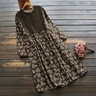 東京奈奈日系森林系蕾絲棉麻歲花花紋長袖復古洋裝[j79956]