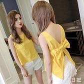 夏季2020新款韓版小清新無袖外穿背心女性感露背蝴蝶結心機小上衣CH1514【小美日記】