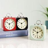 金屬小鬧鐘創意學生宿舍床頭靜音時鐘簡約個性兒童鐘錶臥室小座鐘