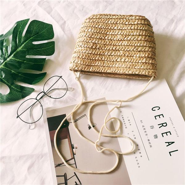 新款學生女包草編包編織包沙灘包包單肩包斜跨小草包手包