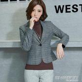 春秋季短外套新款韓版長袖修身休閒西服短款復古格子小西裝女     時尚教主