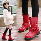 冬高筒靴女童靴子中大童蝴蝶結馬丁靴兒童冬款長靴加絨 「繽紛創意家居」