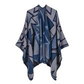 仿羊絨披肩-三角形幾何包邊雙面女圍巾5色73we41【巴黎精品】
