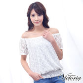 Victoria 肩帶式平肩拉克蘭短袖T-女-米白蕾絲