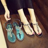 夾腳涼鞋女夏季平底水鉆夾趾丁字扣涼鞋女