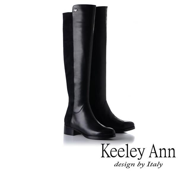 ★2018秋冬★Keeley Ann極簡魅力~異材拼接真皮低跟膝上長靴(黑色) -Ann系列