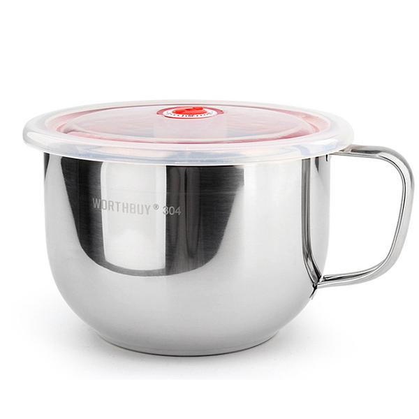 PUSH!餐具用品 防燙防摔升級加厚304不鏽鋼碗泡麵碗飯碗湯碗帶日期指針蓋E87