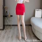 短裙 半身裙女裝2021年夏季新款高腰彈力包裙顯瘦開叉一步裙A字短裙字 618購物節