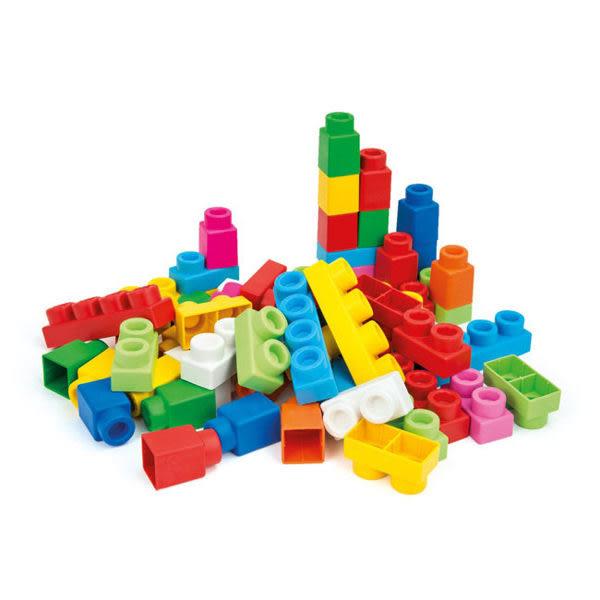 *粉粉寶貝玩具*《Clemmy軟質積木》新60PCS幼兒軟質袋裝積木~義大利原裝進口