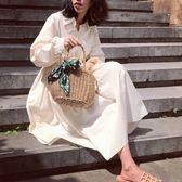 黑五好物節★ins同款草編包手提復古度假編織包森系海邊迷你沙灘包氣質小包女