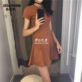 港味chic洋裝女韓版顯瘦高腰中長款純色A字裙裙子  伊莎公主