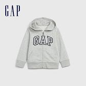 Gap男幼童 Logo磨毛刷毛舒適拉鍊連帽衫 600533-淺灰色