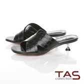TAS 簡約交叉繫帶壓紋牛皮涼拖鞋–俐落黑