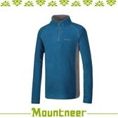 【Mountneer 山林 男刷毛保暖上衣《天藍》】32F05/高領/長袖/旅遊