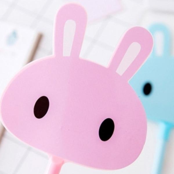 【BlueCat】長柄果凍萌兔扇子筆 中性筆