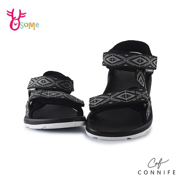 CONNIFE可妮妃 兒童涼鞋 女童涼鞋 休閒涼鞋 專櫃 運動涼鞋 圖騰涉水涼鞋 可調 女鞋可穿 J6606#黑色