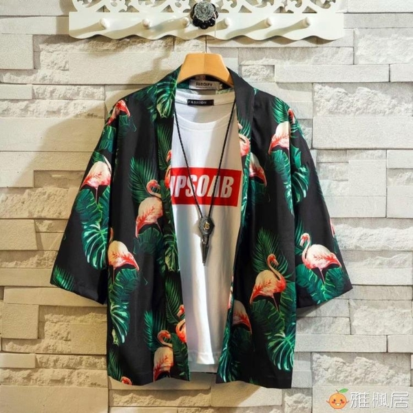 中國風七分袖仙鶴襯衫男夏季寬鬆日系kimono道袍浮世繪短袖漢服潮 雅楓居