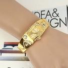 快速出貨 手錶金手鐲新款開口手鐲女表女款女士手錶金色表學生手鐲表復古手錶女