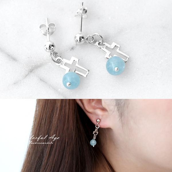 銀飾 海藍寶石十字純銀耳環NPED9