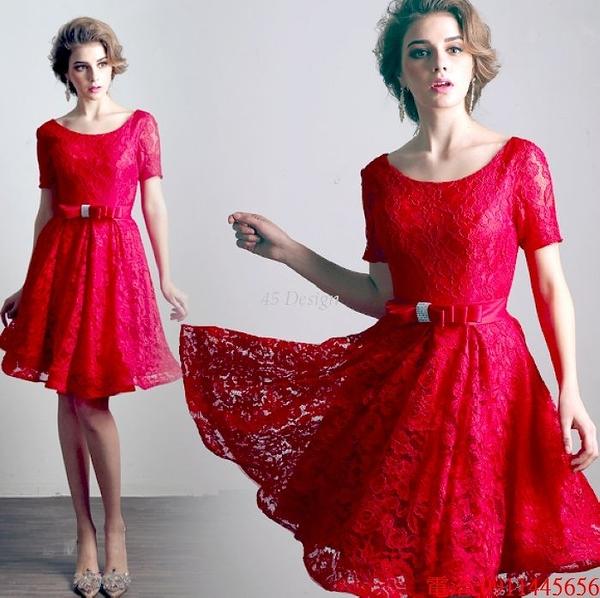 (45 Design)  7天到貨 禮服婚紗晚禮服短款晚宴年會 結婚小禮服短裙 大小顏色款式都能訂製4