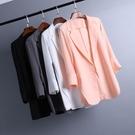 外套女 夏季韓版新款修身中長款雪紡小西裝女薄百搭寬鬆大碼顯瘦西服外套 星河光年