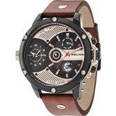 【台南 時代鐘錶 POLICE】義式潮流 工業風格雙時區三眼日期腕錶 15049JSB-02 皮帶 玫瑰金 52mm