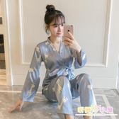 冰絲和服睡衣女秋季長袖可外穿韓版春秋清新可愛學生真絲兩件套裝 九折鉅惠