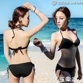 泳衣韓版分體bikini誘惑性感黑色比基尼鋼托聚攏分體小胸女泳衣 摩可美家