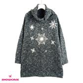 【SHOWCASE】聖誕款 翻領毛呢雪花長版針織上衣(深灰)