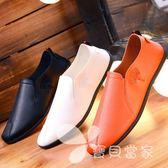 夏季豆豆鞋男士休閑鞋韓版潮流皮鞋透氣小白潮鞋懶人一腳蹬男鞋子