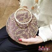 宴會包 刺繡亮片鑲鉆圓環手提包斜跨女手拿禮服包 BF9299【花貓女王】