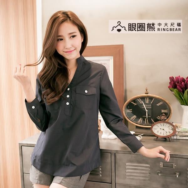 襯衫--慵懶帥氣-Y領半開襟雙口袋設計長袖襯衫(藍.綠2L-5L)-I113眼圈熊中大尺碼