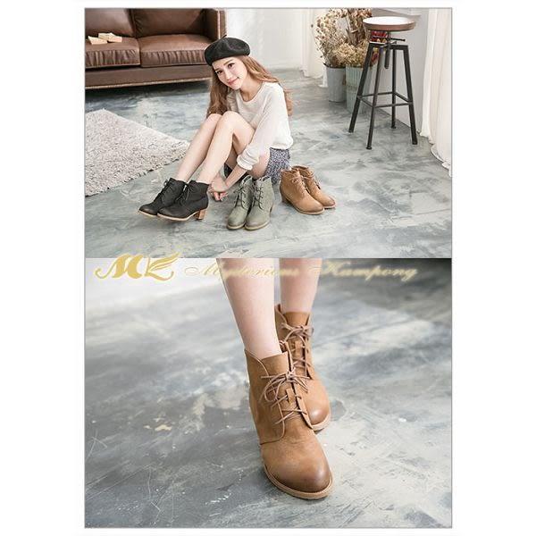 MK-手作真皮系列-經典刷色綁帶短靴-棕色