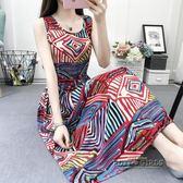 夏季新款韓版碎花無袖背心裙中長款大碼顯瘦抽繩棉綢洋裝女